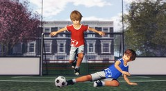 Those who know how to play can easily leap over the adversities of life. (Skippy Beresford) Tags: boy child children childhood football soccer kids play leap slide tackle summer fun love light friendship worldcup