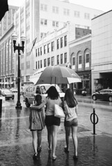 Three Under One (lancekingphoto) Tags: people umbrella rain storm gaystreet downtown knoxville tennessee thesouth konicazup150vp 35mm film silberrapan160 xtol