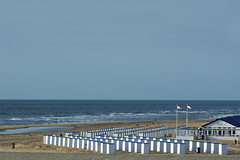 Beach huts in Katwijk (Jan van der Wolf) Tags: map14079ve katwijk beach beachhuts vlag flag strand seascape seaside sea zee landscape landschap herhaling repetition dutch coast