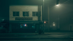 Randy's (llabe) Tags: architecture building street cinematic mood night foggy randy'sloan southtacomaway tacoma washington nikon d750