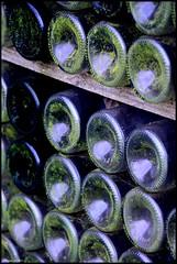 Vivoin (Sarthe) (gondardphilippe) Tags: vivoin sarthe maine paysdelaloire verre glass bouteille bouteilles bottle bottles vert green bleu blue couleurs colors extérieur outdoor garden jardin monochrome macro quiet rural ruralité texture zen