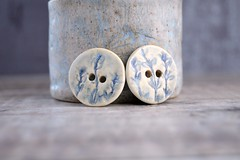 blue thyme buttons (Cherryhill Studio) Tags: ceramic handcrafted buttons ceramicbuttons botanical thyme