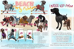 JIAN Beach Party Pointers ( The Epiphany July '18) ([JIAN]) Tags: secondlife theepiphany gacha dogs canine pets animals beach costumes animated mesh jian pointer vizsla weimaraner