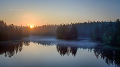 Sunrise in Juuma (M.T.L Photography) Tags: kuusamo juuma sunrise mtlphotography mikkoleinonencom panoramicphotography landscape lake mist fog serene trees forest water summer sky bright night