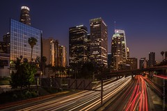 Downtown Los Angeles (Candice Staver Harris) Tags: downtowndistrict traffic freeway nightphotography cityscape landscape california socal lighttrails architecture skyline skyscraper downtown losangeles