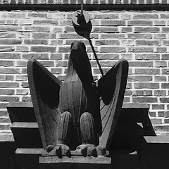 Eagle over the doorway (Erik Viggh) Tags: architecture canons110 blackandwhite streetphotography germany hamburg