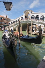 The Rialto Bridge (ORIONSM) Tags: rialto bridge venice italy gondola tourists water grand canal blue sky clouds vacation holiday sony rx100mk3 boat taxi