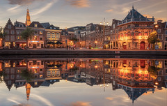 Along the water, Haarlem (reinaroundtheglobe) Tags: haarlem noordholland spaarnestad netherlands holland nederland reflections waterreflections waterfront cityscape townscape clouds