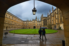 New College on a rainy day (Thomas Roland) Tags: travel rejse trip city by oxford uk great britain england oxfordshire university new college constituent cloisters kloster hall gang courtyard gård spring march marts forår 2018 architecture building universitet nikon d7000 quadrangle yard rain lawn grey arch
