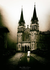 The believer (Mimadeo) Tags: covadonga spain tourism europe architecture landscape asturias church sanctuary landmark basilica ancient building religion old view spanish medieval history catholic temple catholicism historic cathedral monument religious priest christian christianity person faith belief believer going vintage retro sepia cangasdeonis grungy antique