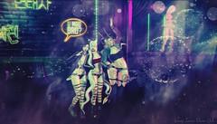 Wild Night Out (Vinore Raven-Owle) Tags: vinore raven owle maitreya catwa catya vtech genderqueer androgynous blueberry sinfulneeds taketomi addams club neons dancing smoke harleyquinn siblings sisters dancer horns demons