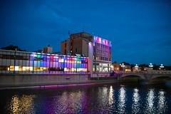 Aurora City Hall (stephenhanafin) Tags: aurora illinois night cityhall nikond750 tamron28300mmdivcpzd lights river