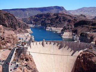 Hoover dam from walkway on bridge