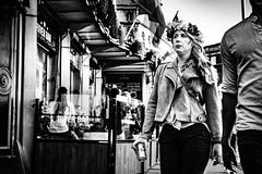 Flora (Kieron Ellis) Tags: woman people crown wreath flowers crownofflowers ring bag bar jacket street candid blackandwhite blackwhite monochrome can