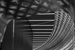 Angers: Centre commercial l'Atoll [Explored] (Hervé Marchand) Tags: 2018 angers centre commercial atoll structure details architecture acier blackwhite lines curves