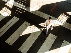 Pell-Mell: Light, Shadows, Stripes (Kurt Kramer) Tags: chicago loop chaos chaotic brightlight shadows silhouettes stripes street pavement pedestrian abstract composition el urban downtown crosswalk pellmell