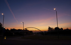 Pinnacles Sunrise (nigdawphotography) Tags: bridge sunrise sunlight lampposts road morning harlow thepinnacles essex