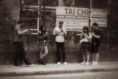 Modern Tai Chi (Alizarin Krimson) Tags: street signs waiting bnw blackandwhite blackwhite sepia people phones meditation taichi hoxtonsquare