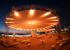Tent by night (michielpols) Tags: eye fish fisheye volvo ocean race sail sailing boat boating brunel akzo nobel beach sea sun summer water competition finish port inport nederland netherlands the hague den haag scheveningen 2018 lumix panasonic gx80
