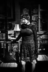 Vintage (Kieron Ellis) Tags: woman style vintage window chairs gloves street candid blackandwhite blackwhite monochrome bag scarf lace