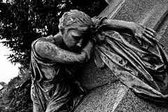 So it's true, when all is said and done, grief is the price we pay for love... (Shadows Of The Sun) Tags: canon bw blackandwhite blancoynegro byn monochrome cemetery cementerio graveyards graveyard grave sculpture sculptured grief sadness photographer hiddenplaces shadowsofthesunphotography