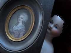 LEAF_china doll (Hertwig ? Kister ?)_1870 & portrait miniature (gift for a friend) (leaf whispers) Tags: antique porcelain womansbody bodyimage erotic femaleform body woman shoulder head doll shoulderhead china chinahead shoulderheaddoll chinadoll chinashoulderhead porcelaindoll beautifuldoll prettydoll exquisitedoll nakeddoll nudedoll uniquedoll originaldoll artdoll artisticdoll decayedbeauty highbrow elegantdoll sophisticateddoll stuffedwithsawdust sawduststuffed porcelainhands porcelainfeet porcelainshoulderhead poupee ancienne porcelaine parian poupéetêtebuste whitedoll blueeyes blackhair germandoll madeingermany love ilovemydoll flattop antiquedoll civilwar antiquechinaheaddoll chinaheaddoll vernissee poupeetetebuste handmadedoll poupée têtebuste porcelainevernissée têtebusteenbiscuitvernissé vintage spiritdoll haunteddoll oldtoy antiquetoy kister hairstyle maker artist light obsolete broken contaboehme sausagecurls