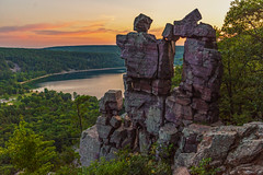 Devil's Doorway (Daniel000000) Tags: devils doorway lake state park wisconsin rock stone tree cliff hills hill sunset sunsets sun light sunlight summer green new old formation nikon d750 tamron landscape horizon nature color country wild water sky cloud clouds reflections white trees art july orange travel explore adventure beautiful