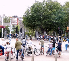Busy Amsterdam (Clare-White) Tags: amsterdam traffic bikes tree street busy people road