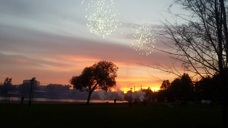 Sunset and fireworks.