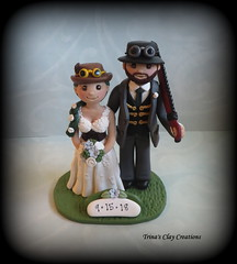 Steampunk Wedding Cake Topper (Trina's Clay Creations) Tags: art sculpture weddingcaketopper wedding whimsical weddingcake weddingdecor caketopper customcaketopper clayfigure claycaketopper trinasclaycreations trinaprenzi topper groomscake polymerclay personalized steampunk