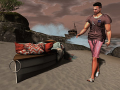 Morning Beach Walk (ScottSilverdale) Tags: secondlife sl morning scottsilverdale beach walk dawn wave waves realwaves cliff wreck splash splashing rock rocks stroll ipod earbuds smartphone boat boats sea ocean seaside downbytheseaside shirt shorts tree windswept afterthestorm hpmd studioskye skye aitui invictus massai dreamlanddesigns disorderly shipwreck anaposes pose cushion throw spray epiphany signature signaturegianni catwa catwadaniel birth argrace headphones sandals sand trawler kokoia