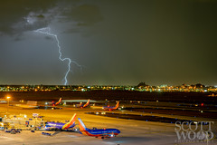 Waiting to Taxi (ScottWoodPhotos) Tags: night weather airport southwestair storm airplane monsoon2018 thunderstorm lightning sky arizona monsoon phoenix skyharbor clouds unitedstates us