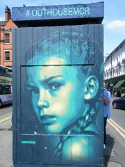 Manchester street art (rossendale2016) Tags: central centre outhouse shops shelter busy passengers departure stops buses vehicles cars traffic pedestrian walkway pavement route bus picturesque photogenic great colour colourful artwork changing ever destinstion tourist holiday artistic artist iconic icon quarter northern sauare stevenson art street manchester