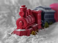 Macro Mondays - Plastic (Luana 0201) Tags: macromondays plastic train locomotive red flour snow