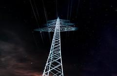 A power pole between the stars (aryn.zero) Tags: night sky stars astro astrophotography star powerpole illumination starlight color colour