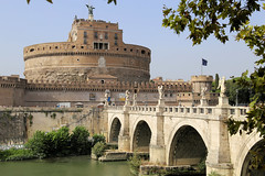 Castel Sant'Angelo on the other side of the Tiber (B℮n) Tags: roma rome italia italy italië charming streets heart historic center beautiful eighteenth century medieval tower city culture western roman forum pas present history metropolitan openair museum capital street walking wandering tourist holiday summer lazio old centre ancient romano travel hotel boy girl strolling down pontesantangelo ponte saint angelo castelsantangelo castle angels statues 50faves topf50 100faves topf100