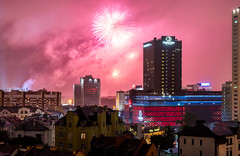 Fireworks in Minsk (free3yourmind) Tags: minsk fireworks independenceday night doubletree hotel hilton view belarus