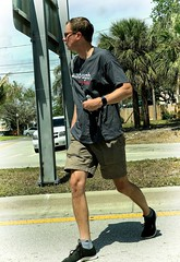 Man at March to Save our Lives (LarryJay99 ) Tags: iphone7plus iphone7 man men guy guys dude male studly manly dudes handsome glasses camera hairylegs streets urbannomad urbandemocracy legs shorts cargos knees bulges profile face candid unsuspecting cargo cargopants hairy facialhair