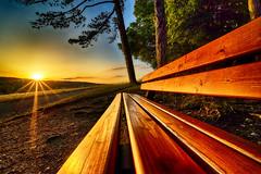 Forever empty ? (Für immer leer ?) (peterwarhier) Tags: landscape landschaft sun sonne sunset sonnenuntergang bench bank tree baum sky himmel sonya7ii schwäbischealb germany deutschland
