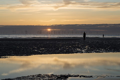 Anthony Gormley's Another Place (David Chennell - DavidC.Photography) Tags: anotherplace crosby beach anthonygormley merseyside sefton liverpool silhouette reflection cloudscape sunset goldenhour skyscape offshorewindfarm windturbines