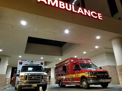 AMR Las Vegas and Las Vegas Fire & Rescue at Mountain View Hospital. (Summerlin540) Tags: paramedic emt ems 911 999 112 nevada ford chevy chevrolet ambulance emergencia emergency medical rescue led vegasstrong