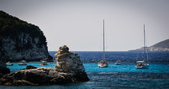 A patch of turquoise (Rabican7) Tags: blue turquoise patchofblue sea pelagos greece paxoi sailing sailboats beach greeksummer summer traveling rocks calmness colorful sky island