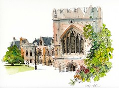 Bishops Palace, Wells (wanstrow) Tags: wells palace green gothic illustration drawing windows