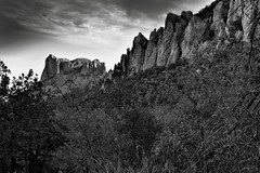 Casa Grande and the Peaks of The Pinnacles (Black & White, Big Bend National Park) (thor_mark ) Tags: nikond800e day2 triptobigbendnationalpark bigbendnationalpark lookingne casagrande silverefexpro2 blackwhite capturenx2edited colorefexpro desert desertlandscape desertplantlife desertmountainlandscape outside nature landscape sunny blueskieswithclouds mountains mountainsindistance mountainsoffindistance mountainside trees hillsideoftrees chihuahuandesert chisosbasin rollinghillsides hiketosouthrimtrail southrimtrail southrimloop casagrandepeak usbiospherereserve intermountainwest southwestbasinsandranges transpecostexasranges bigbendranges thepinnacles project365 portfolio tx unitedstates