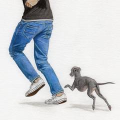 Make time to play ♡ (@dora_figalga) Tags: illustration handdrawn colorpencil sketch handmade wip draw artwork artofinstagram art artist postcard takeabreak enjoy fun play timetoplay happy joyful happiness run downtime happydog dog dogs pet italiangreyhound doglover dogplay dorafigalga