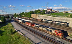 "KCS and BNSF Trains in Kansas City, MO (""Righteous"" Grant G.) Tags: kcs kansas city southern railway railroad locomotive atsf santa fe emd power missouri bnsf bn transfer freight west westbound north northbound empty coal yard job"