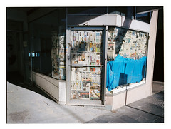 Push (@fotodudenz) Tags: fuji fujifilm ga645w ga645wi medium format film rangefinder wide angle 28mm 45mm 6x45 645 melbourne victoria australia kodak portra 400 box hill newspaper shop shadows