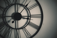 Interesting Wall Clock (dejankrsmanovic) Tags: abstract structure time hand hour minute frame metal black wall clock watch accurate ontime concept conceptual retro modern design style roman number afternoon shadow room indoor interior simple sparse copyspace elegance decor decoration decorative partof circle round
