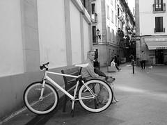 La voz de su amo (no sabemos cómo llamarnos) Tags: street calle rue streetphotography photoderue urbanphotography fotourbana fotocallejera bike bici bicicleta bicyclette perro chien dog pet people gente blancoynegro blackandwhite noiretblanc