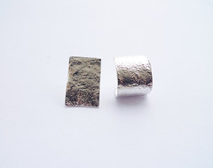 Ice Family. Mix and Match. 3 Shapes Textured Silver Studs. Thin Shiny Organic Rough Silver Earrings. Short / Long Rectangles and Ear Hugger. (Noa Sharon Designs) Tags: textured silver earrings unisex jewelry handcraft sustainablejewelry recycled noasharondesigns icekisses